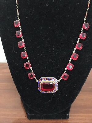 Vintage Art Deco Red Czech Glass Blue Enamel Necklace