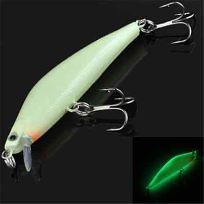 3D Minnow Luminous Fishing Lure Bass Crank Bait Hooks Fish Crankbait Tackle 1PC