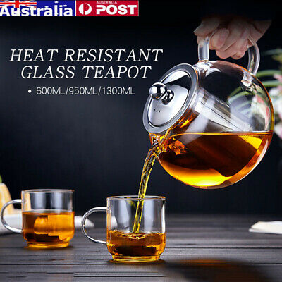600/950/1300ml Clear Stainless Steel Heat Resistant Glass Teapot Infuser Teapot