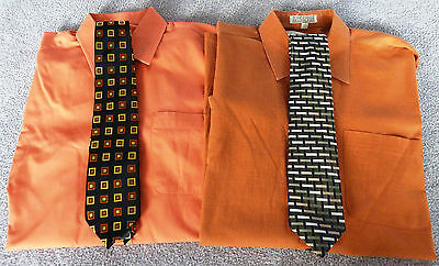 Lot Of Two Young Men's Dress Shirts Size 20R With Matching Ties - Excellent Cond