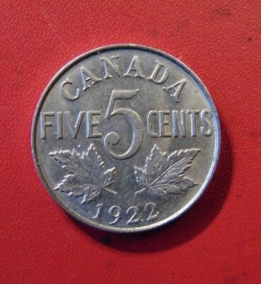 CANADA 1922 NEAR RIM FIVE 5 cent nickel CANADIAN coin King George V