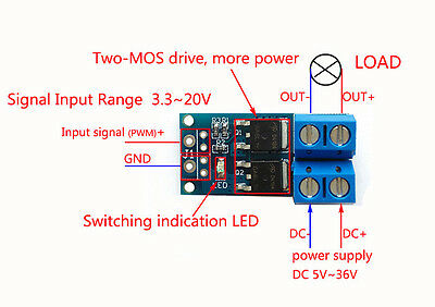 DC 5V-36V PWM Regulator Control MOS FET Trigger Switch Drive Module 400W 15A UK