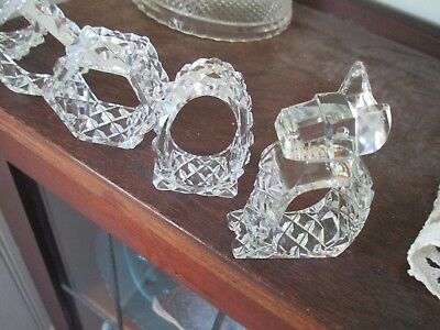 5 CRYSTAL serviette / Napkin HOLDERS
