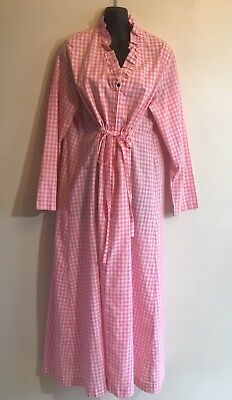 Vintage Pink Gingham Dressing Gown Robe Sears Large Retro Ruffles