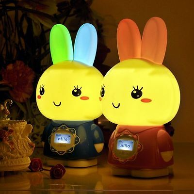 Easter bunny Intelligence BabyToys Rattle Mp3 Music Story Player night light
