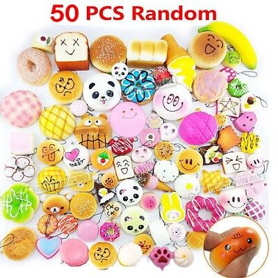 50pcs Fast food&Rilakkuma Squishy Charms Squeeze Kids Lovely Toy Gift Dulcet Lot