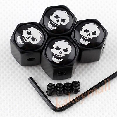 Skull Head Trim Anti-theft Wheel Tyre Tire Valve Caps Dust Cover Car Accessories
