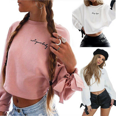 Womens Bowknot Long Sleeve Sweater Pullover Crop Tops Hoodies Sweatshirt Jumper