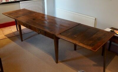 Antique 19thC Vintage French CherryWood 11ft Extendable Farmhouse Dining Table