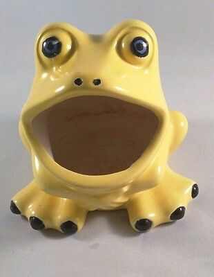 VTG 70's WIDE Mouth Frog Hippie Yellow Ceramic Sponge Scrubbie Holder Kitchen