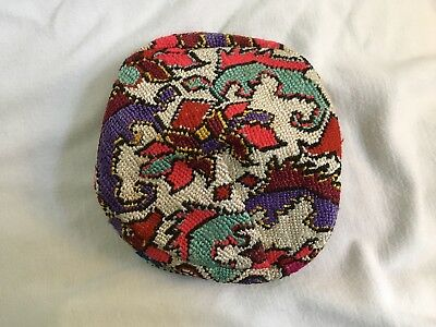 Vintage African Kente Hat With Dinosaurs