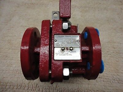 "1"" ITT Richter PFA Lined Ball Valve 150# Flanged Connections w/Lever Handle"