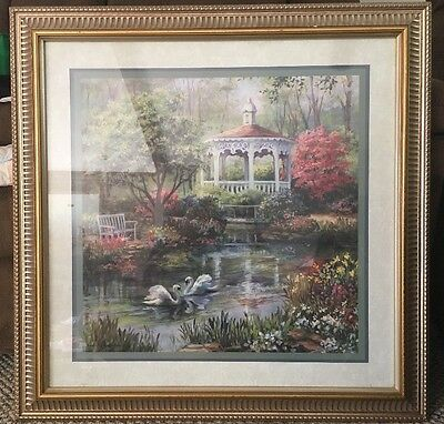 HOME INTERIORS Gazebo Swans Pond Ornate Frame Print Picture By  Laurie Snow Hein