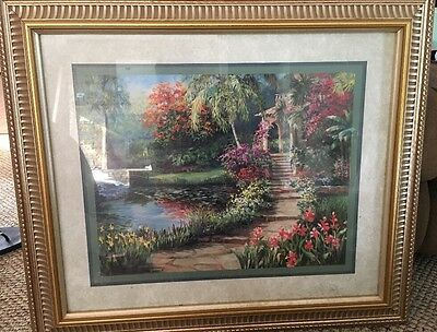 HOME INTERIORS Gazebo Floral Pond Ornate Frame Print Picture By Laurie Snow Hein
