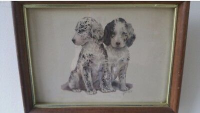 Vintage Grace Lopez Framed Puppies Dogs Picture Print