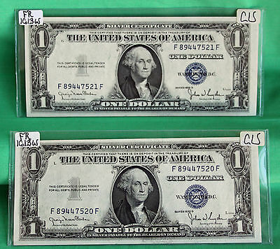 TWO 1935 D CU $1 Silver Certificate Paper Money Consecutive #7520 7521 FR# 1613W