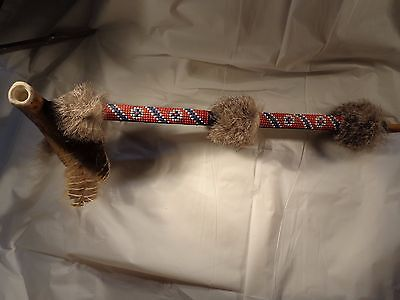 Ceremonial Native Style American Beaded antler peace pipe w/ rabbit's fur & feat