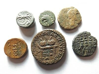 Lot of 6 Ancient Greek Coins: 26.5 Grams!