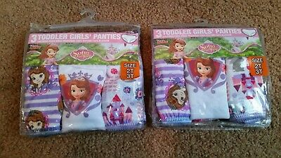 Girls Sofia the First Underwear Toddler Disney 100% Cotton 6 Pairs 2T-3T New