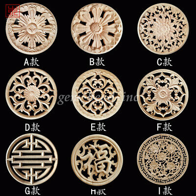 1X Hollow Round Wood Carved Unpainted Applique Onlay DIY Cabinet Door Decor New