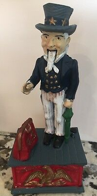 Vintage Cast-Iron Uncle Sam Mechanical Bank 1970's 1980's??? Real  Nice~~