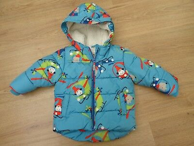 Baby Boys Next Age 9-12 Months Winter Coat + Chunky Fleece Lining