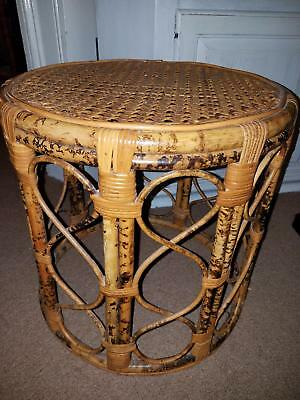 Vtg Aesthetic Movement Bamboo Rattan End Table Drum Stool Cane Top Stand 17.5x17