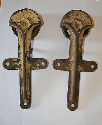 Antique Cast Iron Rustic Farm Barn PROUTY Barn Door Rollers Architectural Find