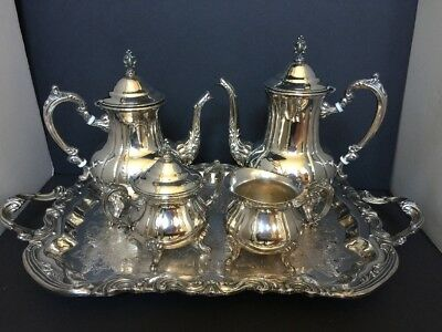 Vintage Towle Silverplate 5 pieces Coffee/Tea Service Set With Tray Great Cond
