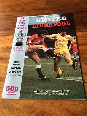 Manchester United V Liverpool 1985 Fa Cup Semi Final Replay Programme Mint Free