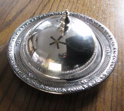 Wallace Sterling Silver Pierced Dish & Lid 4041 c1920 Repousse Fruit & Floral