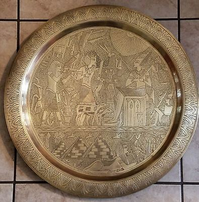 Lg Antique Egyptian Brass Wall Plate Ancient Egypt Osiris Pharaoh Pyramid Sphinx