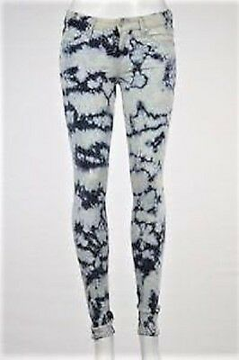 MOTHER $216 Navy ACID-WASH TIE-DYE Low-Rise STRETCH SKINNY ANKLE JEANS 24 NWT