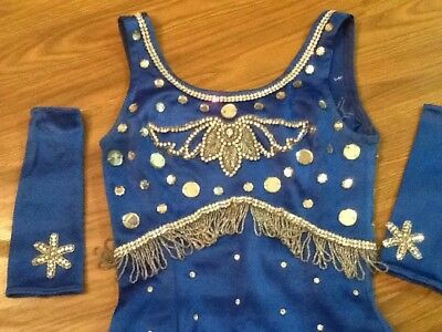 """Vtg 70's """"circus"""" Blue Mirrored & Sequin/ Showgirl / Dance Costume With Cuffs"""