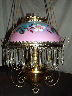 Antique Hanging Oil Lamp ( Wrap Around Floral Painted  Shade )