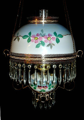 Antique Ansonia Hanging Oil Lamp / Matching Shade & Font , Cherry Blossom)