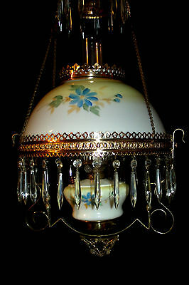 Antique Pittsburgh Hanging Oil Lamp ( Matching Shade & Font Signed By Artist)