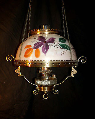 Antique Hanging Oil Lamp ( Pink With Purple Flowers )