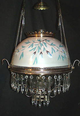 Antique B & H Hanging Oil Lamp ( Blue / White Floral Wrap-Around Shade)