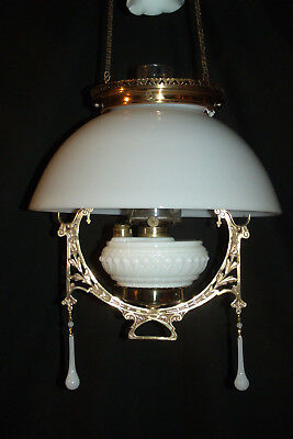 Antique Kitchen Hanging Oil Lamp (Milkglass Shade, Font And Smoke Bell)