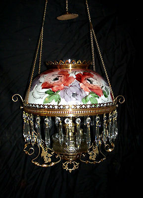 Antique Ansonia Hanging Oil Lamp (Large Colorful Floral Painted Shade)