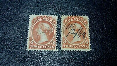 #0420 Canada Stamp 1800's Bill Stamp 3 Cent Lot of 2 FB20