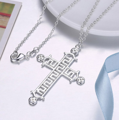 Mens Womens 925 Sterling Silver Cross Pendant Charm Rolo Chain Necklace #N128