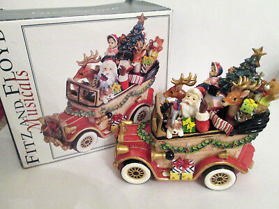 Fitz and Floyd Musicals Santa Mobile We Wish You a Merry Christmas Car Music Box
