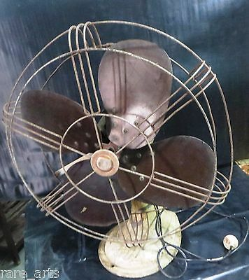 "Vtg 16"" REVO Electric table fan Working C1950 COLOR METAL BODY FIBER BLADES"