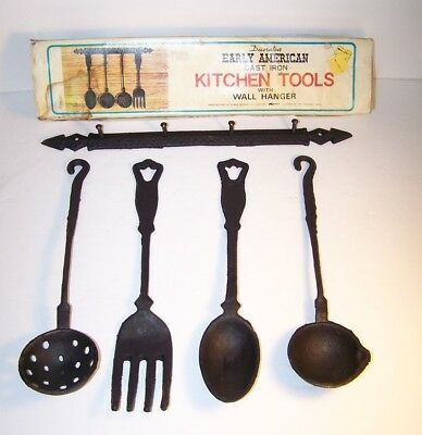Decor/Decorative Early American Cast Iron Kitchen Tools with Wall Hanger in Box