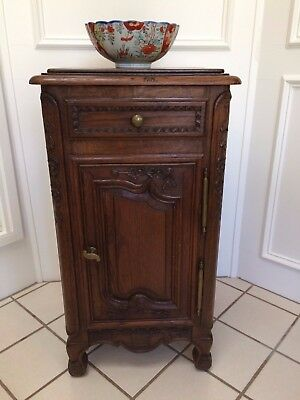 Classic Antique French Carved Dark Oak End Table Wine Liquor Cabinet Nightstand