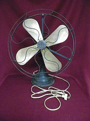"Old Vintage GE Brass 4 Blade 16"" Oscilating Electric Fan AOU AE1"