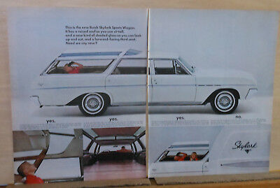 1964 two page magazine ad for Buick - Skylark Sports Wagon, raised roof