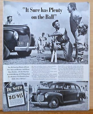 1940  magazine ad for De Soto - Admired by Baseball players, 39 new features